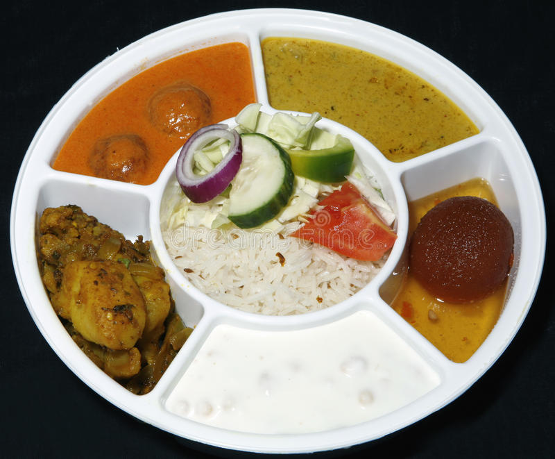 Indian thali combo stock photo