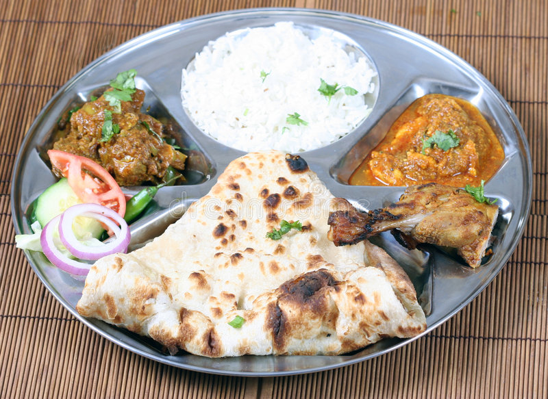 Indian thali combo. Indian pakistani food combo known as thali stock photos
