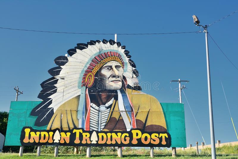 Indian Trading Post on Calumet, Oklahoma. Calumet, Oklahoma - July 20, 2017: Indian Trading Post and Art, off the Calumet exit of Interstate 40 in western royalty free stock photography