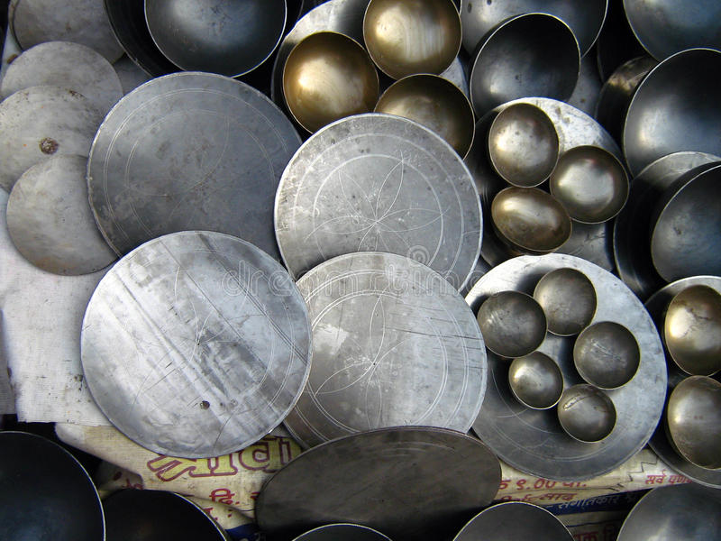 Indian Traditional Frying Pans & Bowls. Indian Traditional Frying Pans and bowls sold roadside stock photos