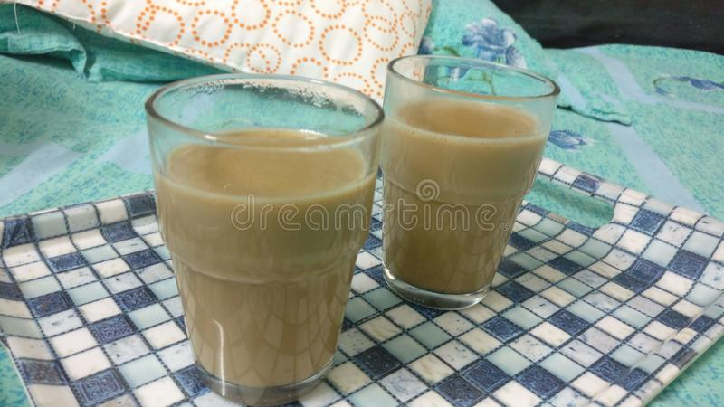 Indian Traditional Ginger Masala couple Tea for Winter. Vacation, enjoy with family and weather stock photography