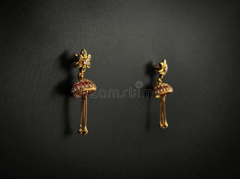 Indian Traditional Gold Earrings Stock Image Image