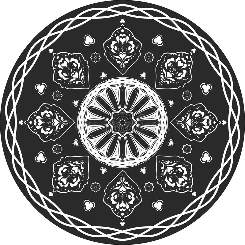 Indian traditional pattern of black and white stock image