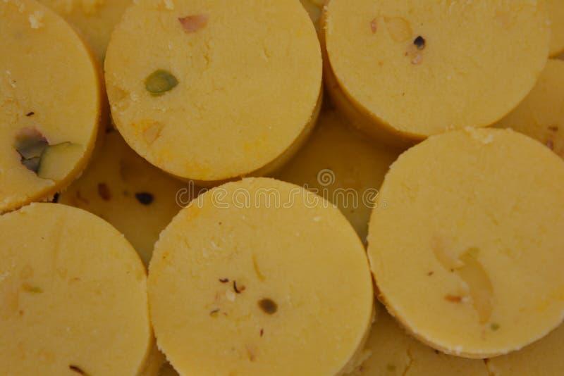 Indian Sweets Saffron Peda or Pedha stock image