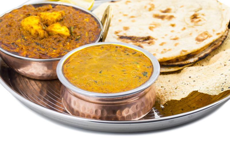 Indian Traditional Thali Food Dal Makhani With Kadai Paneer. Indian Traditional Thali Food Dal Makhani Served with Chapati, Papad, Kadai Paneer or Lemon Also royalty free stock image