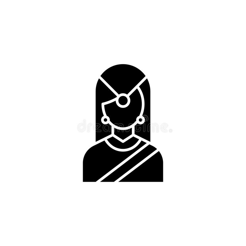 Indian traditional woman black icon concept. Indian traditional woman flat vector symbol, sign, illustration. royalty free illustration