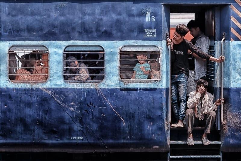 Indian train in New Delhi stock image