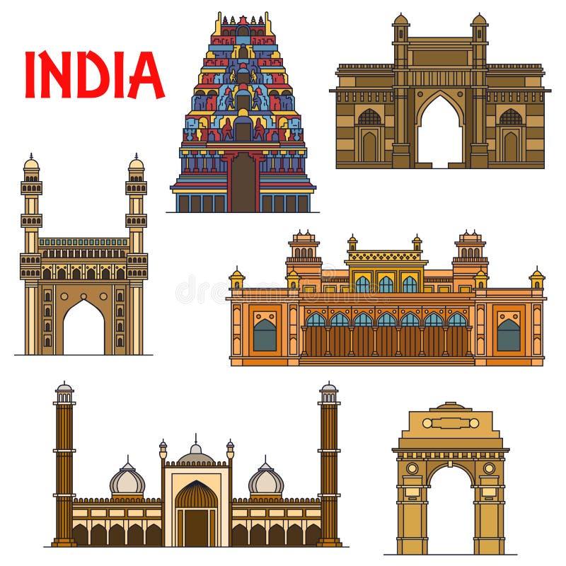 Indian Travel Landmarks Thin Line Icon Stock Vector