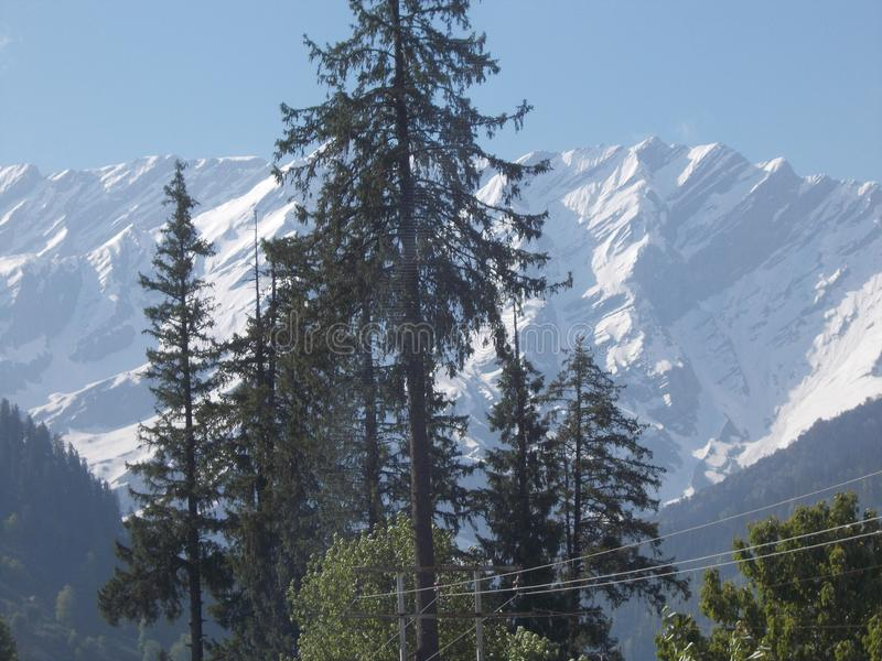 Indian travel site, Manali with ice, contains trees. Indian travel site, Manali with ice on its hilling area, in the year of 2014, with blue sky, contains lots royalty free stock photos