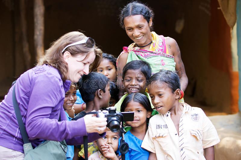 Indian tribal children and woman stock photo