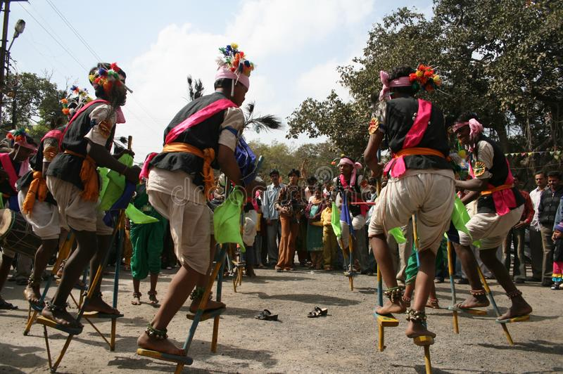 Indian Tribal Dancers performing near Gandhi hall Indore. During a tribal festival stock images