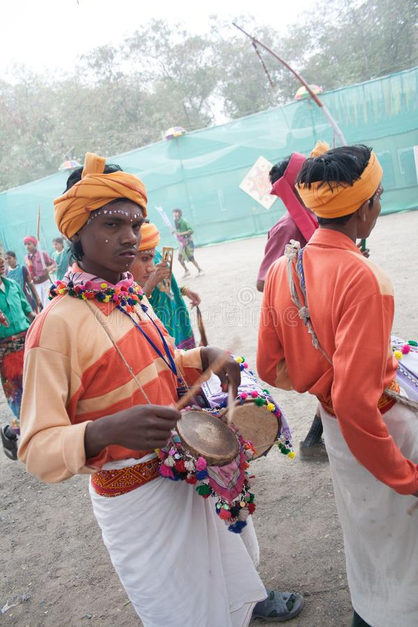 Indian Tribal Dancers and musicians. Indian Tribal Dancers performing near Gandhi hall Indore during a tribal festival stock images