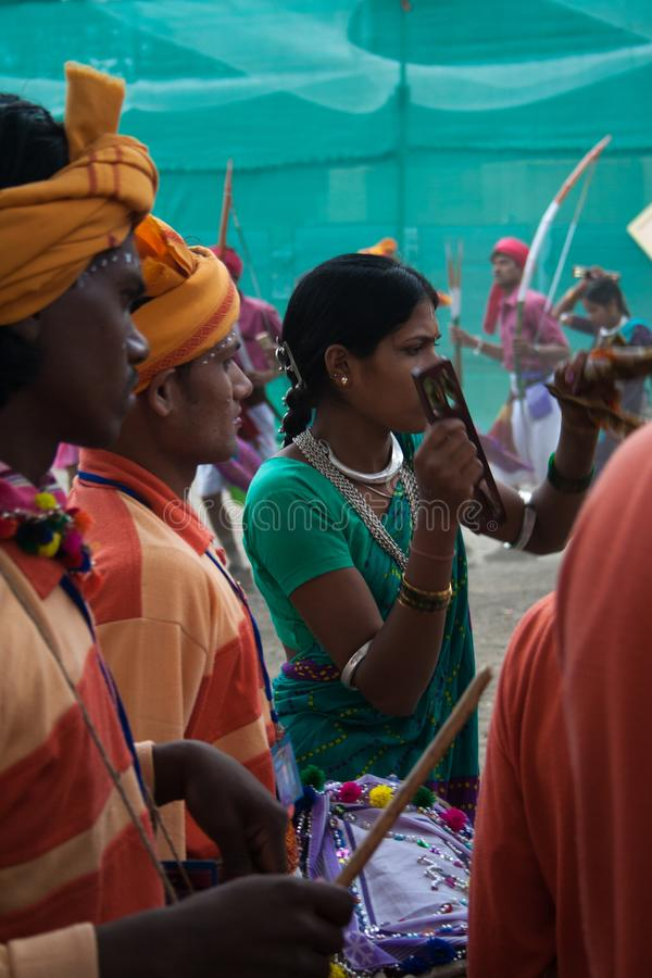 Indian Tribal Dancers and musicians. Indian Tribal Dancers performing near Gandhi hall Indore during a tribal festival royalty free stock image