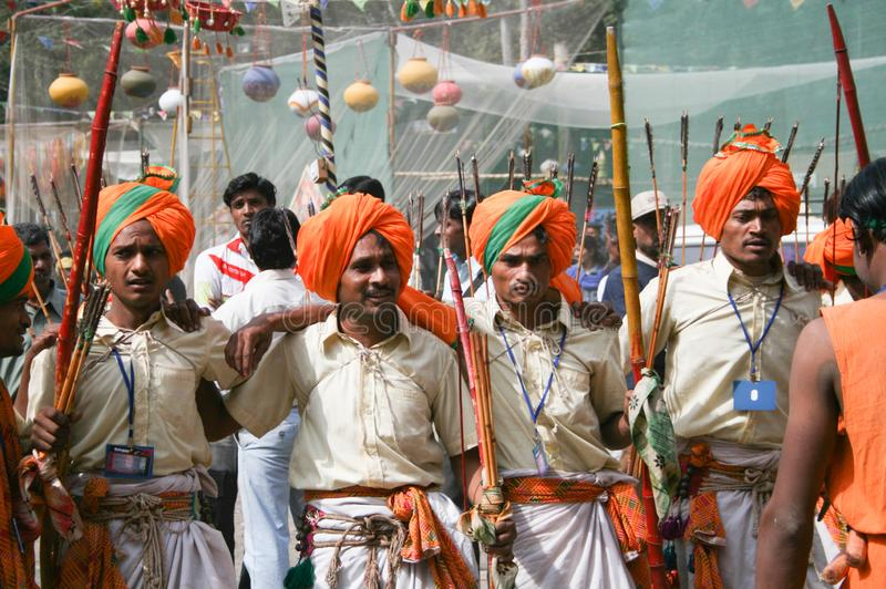 Indian Tribal Dancers performing near Gandhi hall Indore. During a tribal festival stock image