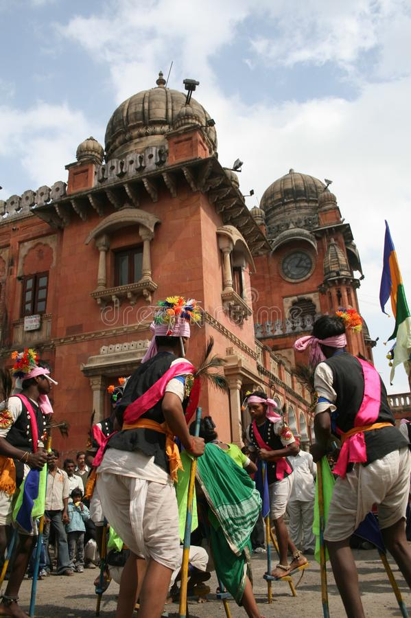 Indian Tribal Dancers performing near Gandhi hall Indore. During a tribal festival royalty free stock photo