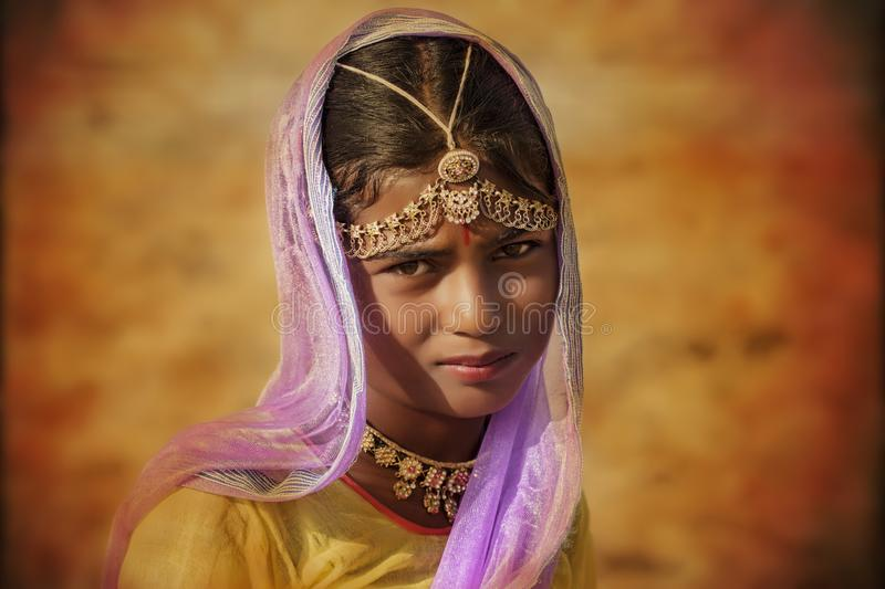 Indian tribal girl from Pushkar stock photos