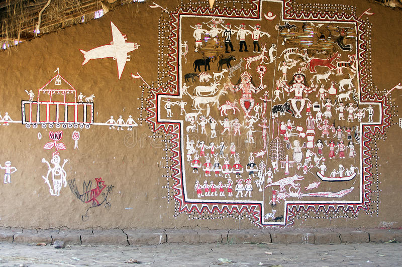 Download Indian tribal mural editorial image. Image of mural, asia - 20594345