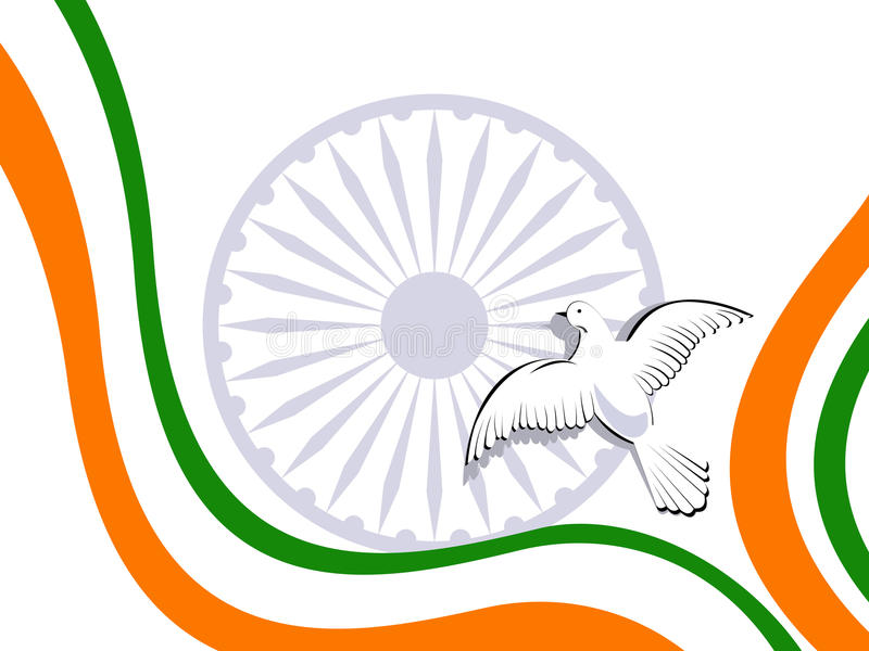 Indian tricolor flag with flying pigeons. vector illustration