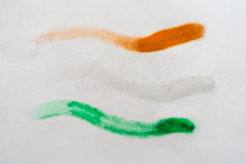 Indian Tricolor Flag Painted On A White Paper stock images