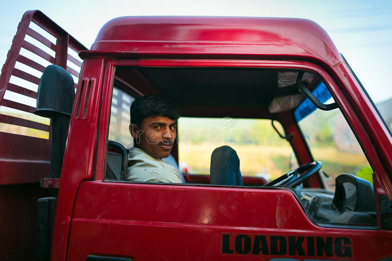 Indian truck driver. In cabin. Goa royalty free stock photo