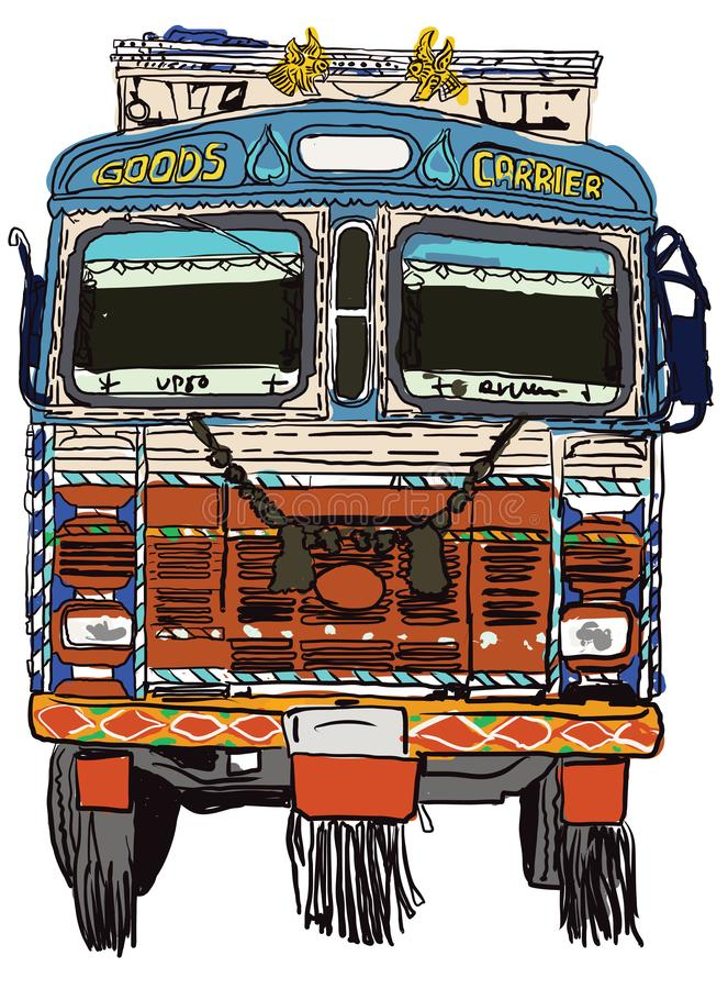 Indian Truck Front vector illustration for designs royalty free illustration