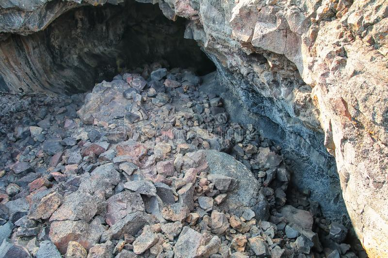 Indian Tunnel Cave in Craters of the Moon National Monument, Idaho, USA stock image