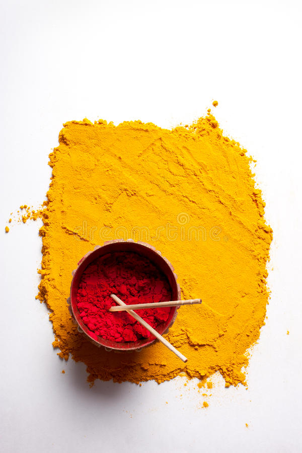 Indian turmeric and roli with stick royalty free stock photos
