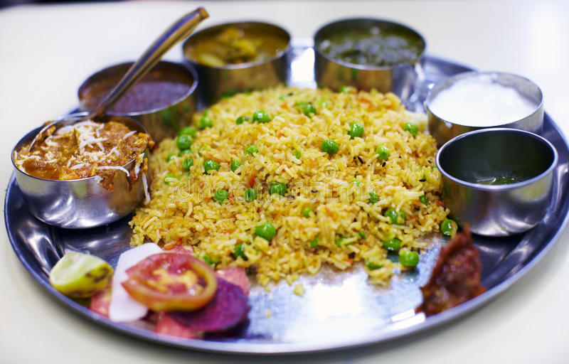 Indian typical Thali meal royalty free stock photography