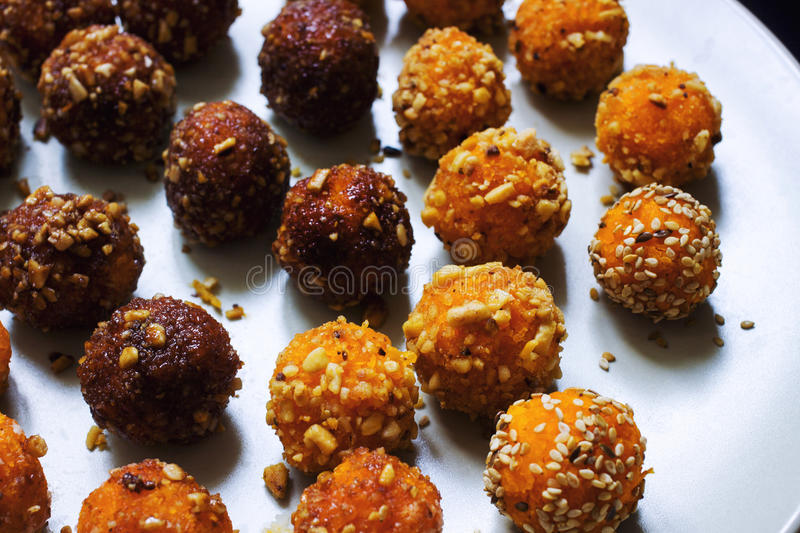 Indian veggie sweet. homemade diet candy laddu royalty free stock image