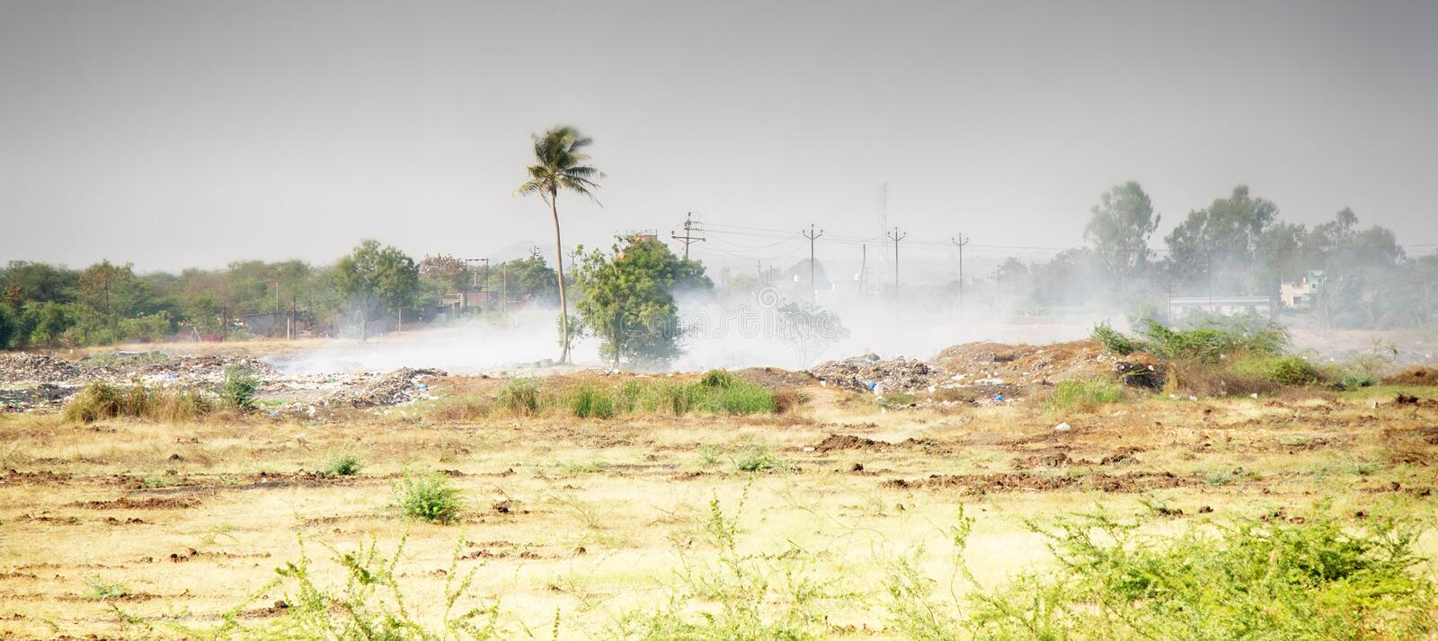 Indian village dump is burning royalty free stock images