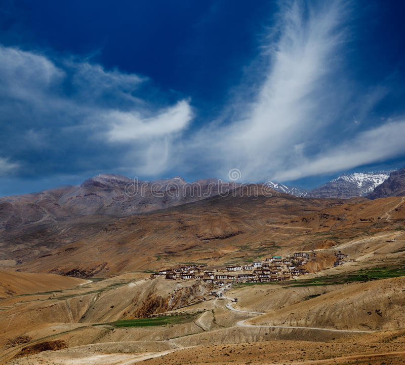 Indian village in Spiti valley stock images