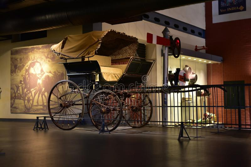 Indian Vintage Horse Carriages, popular mode of transportation for Royals in India. Editorial: Gurgaon, Haryana, India: April 09th, 2016: Indian Vintage Horse stock photography