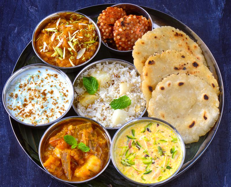 Indian vrat thaali -glutenfree meals served during festival. Navratri thali meals -Gluten free lunch or dinner served during Navratre fasting.Most people eat one royalty free stock image