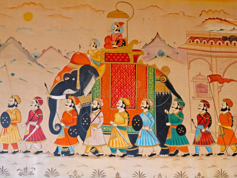 GUJURAT, INDIA   OCTOBER 27, 2016: Wall Art Displaying The Characteristic  Level Of Detail Shown By Traditional Indian Miniature Painting