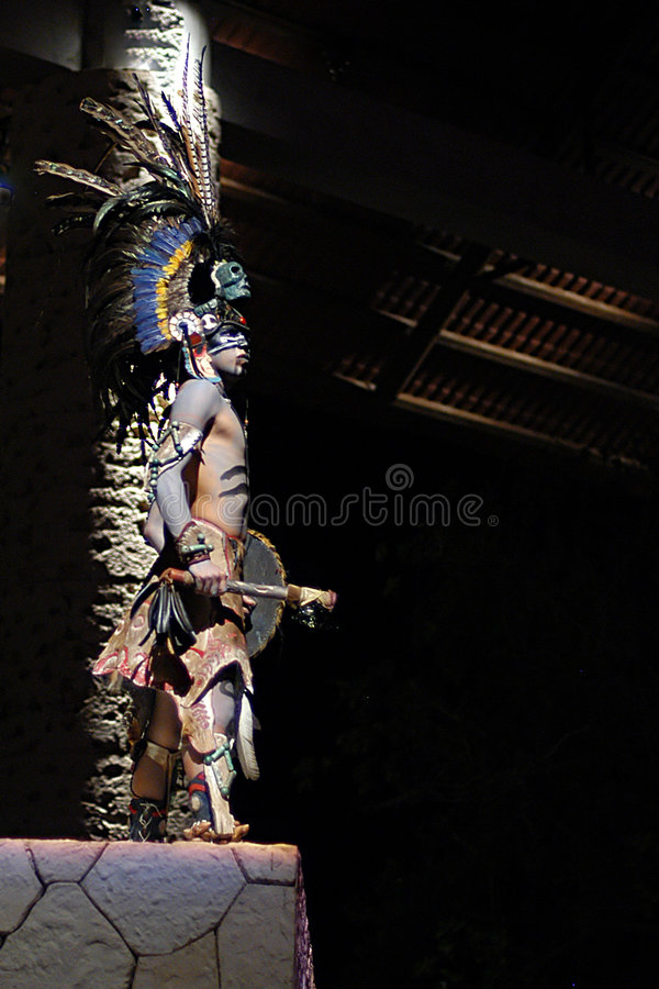 Indian warrior. Mayan warrior during night performance in Cancun, Mexico
