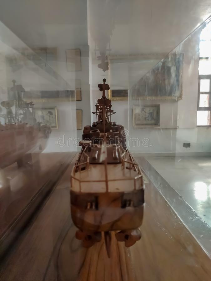 Indian Warship made by wood,ludhiana,india on 16 August 2019:Maharaja Ranjit Singh War Museum established 1999. royalty free stock photos