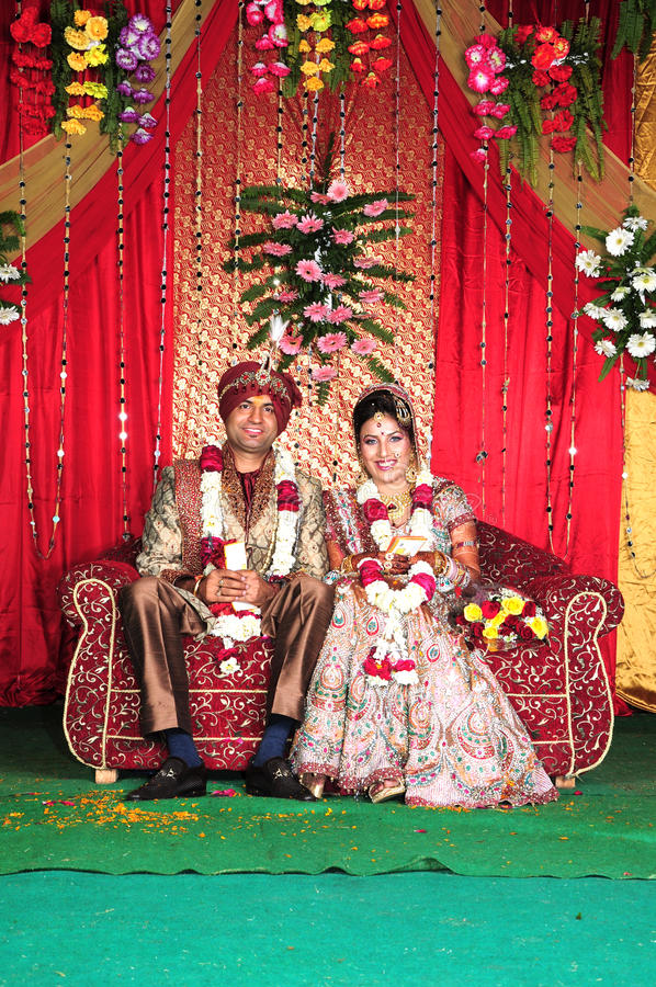 Indian wedding. Beautiful shot of indian punjabi bride and groom royalty free stock images