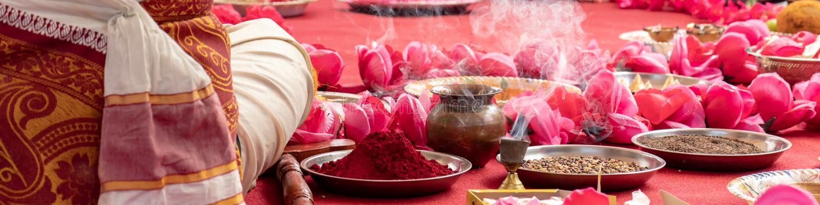 Indian wedding ceremony, decorations for traditional ethnic rituals for marriage royalty free stock images