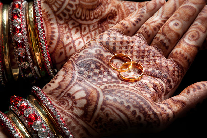 Mehndi Hands With Rings : Indian wedding ceremony stock photo image