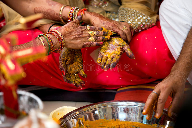 Indian Wedding Hand Color Ceremony royalty free stock images