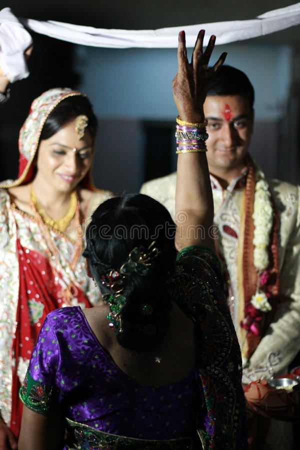 Indian Wedding. This is how the bride looks in India when she get the all ornaments on.. She do this only for her groom, in Indians mythology consider bride as royalty free stock photo
