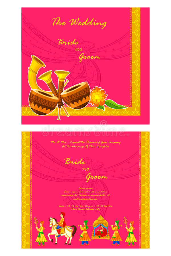 Indian Wedding Invitation Card Stock Vector - Illustration of ...