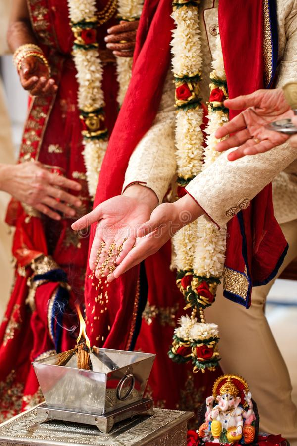 Indian Wedding Traditions in national clothes royalty free stock image
