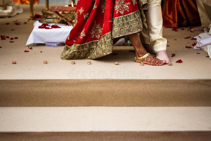 Indian Wedding Traditions in national clothes stock image