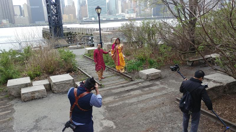 Indian weeding day in Long Island City park royalty free stock photo