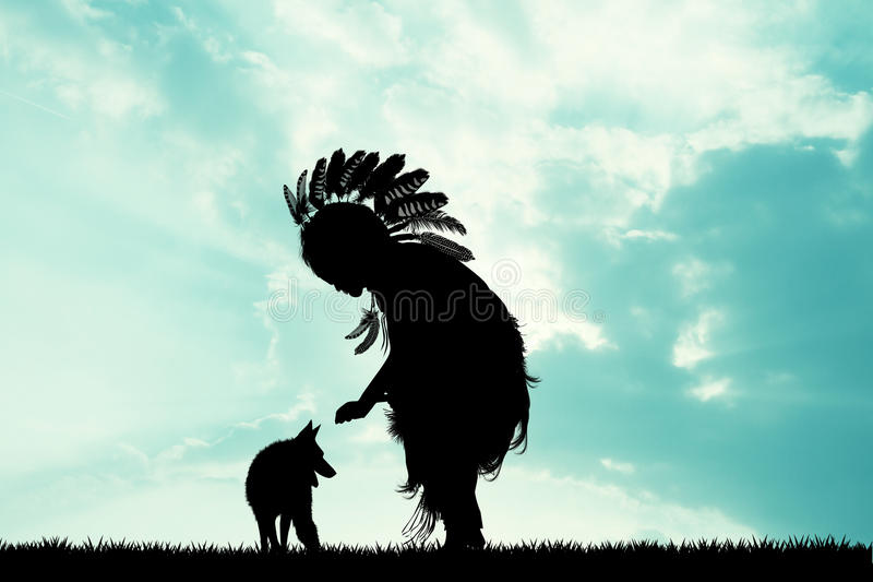 Indian and wolf at sunset. Illustration of Indian and wolf at sunset vector illustration