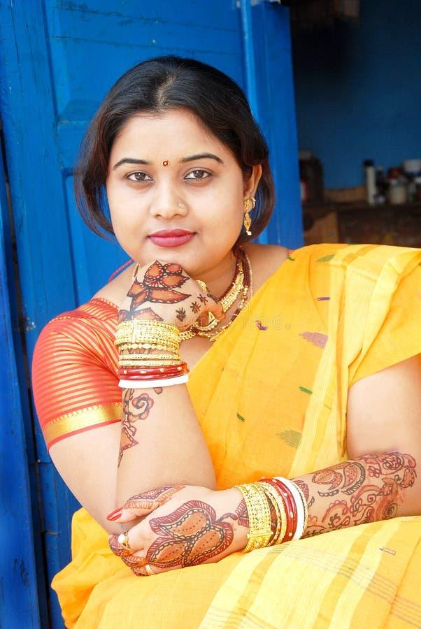 Indian Woman. March 04, 2012 Kolkata, India, Asia-Portrait of a young Indian woman with traditional Saree at kolkata stock photo