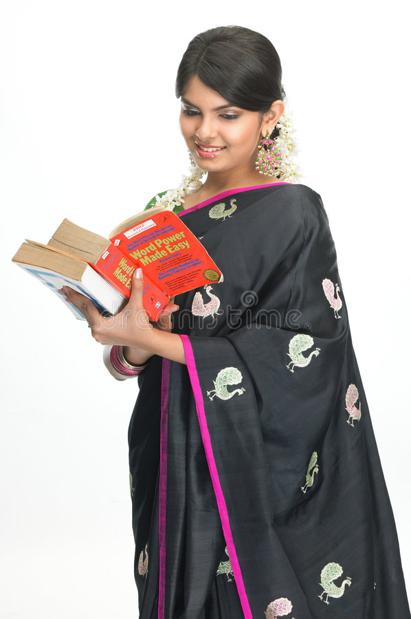 Download Indian woman with books stock photo. Image of hairstyle - 7906182