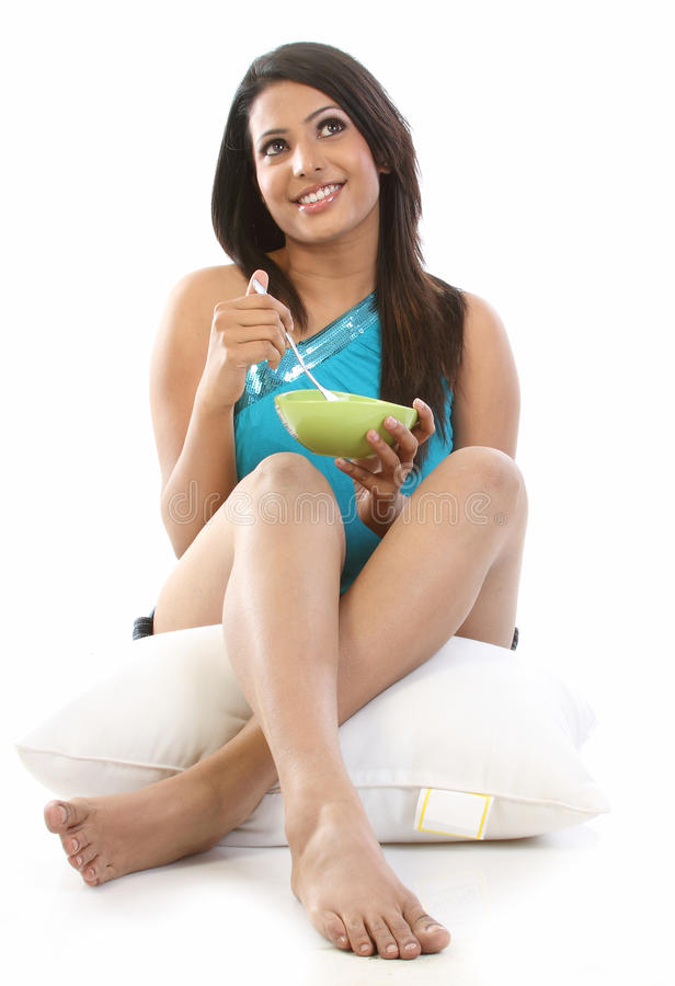 Download Indian Woman With Bowl Of Breakfast Royalty Free Stock Photo - Image: 13787055