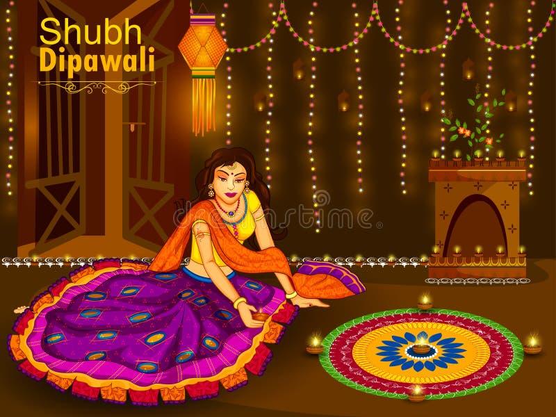 Indian woman celebrating Diwali festival of India vector illustration